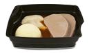 Passiertes Menü Nr. 3 in der Schale: Rinderbraten, Blumenkohl, Kartoffeln