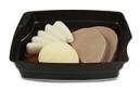 Passiertes Menü Nr. 6 in der Schale: Sauerbraten, Schwarzwurzeln, Kartoffeln