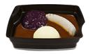 Passiertes Menü Nr. 12 in der Schale: Bratwurst Schwein, Rotkohl, Kartoffeln