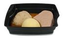 Passiertes Menü Nr. 14 in der Schale: Kassler, Sauerkraut, Kartoffeln