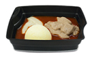 Passiertes Menü Nr. 21 in der Schale: Rindergulasch, Blumenkohl, Kartoffeln