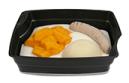 Passiertes Menü Nr. 25 in der Schale: Geflügelwurst, Kürbis, Nudeln
