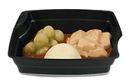 Passiertes Menü Nr. 31 in der Schale: Schweinegulasch, Rosenkohl, Nudeln