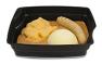 Passiertes Menü Nr. 40 in der Schale: Ratatouille-Hirse-Bogen, Steckrübe, Kartoffeln