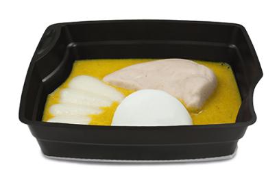 Passiertes Menü Nr. 32 in der Schale: Putenbrust, Kohlrabi, Basmati-Reis