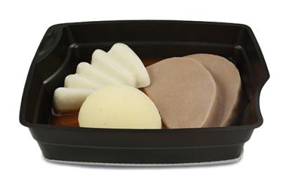Passiertes Menü Nr. 6 in der Schale: Sauerbraten, Schwarzwurzel, Kartoffeln