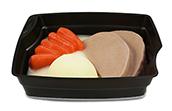 Passiertes Menü Nr. 4 in der Schale: Tafelspitz, Karotten, Kartoffeln