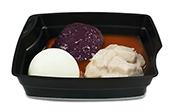 Passiertes Menü Nr. 15 in der Schale: Schweinegulasch, Rotkohl, Basmati-Reis
