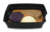 Passiertes Menü Nr. 33 in der Schale: Berglinsen, Rotkohl, Kartoffeln
