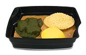 Passiertes Menü Nr. 36 in der Schale: Rote-Linsen-Ragout, Spinat, Curry-Reis