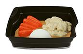 Passiertes Menü Nr. 39 in der Schale: Dinkel-Blumenkohl-Curry, Karotten, Reis