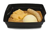 Passiertes Menü Nr. 40 in der Schale: Ratatouille-Hirse-Borgen, Steckrübe, Kartoffeln